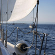 Italy, Sicily, Mediterranean sea, sicilian South-Eastern coast, cruising on a sailing boat — Stock Photo