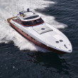 Italy, off the coast of Naples, Azzurra luxury yacht (boatyard: Cantieri di Baia), aerial view - Foto de Stock
