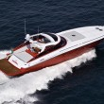 Italy, off the coast of Naples, Azzurra luxury yacht (boatyard: Cantieri di Baia), aerial view — Stock Photo #12726581