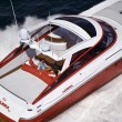 Italy, off the coast of Naples, Azzurra luxury yacht (boatyard: Cantieri di Baia), aerial view — Stock Photo