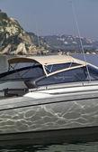 :Italy, Baia (Naples), One luxury yacht (boatyard: Cantieri di Baia) — Stock Photo
