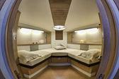 Italy, Baia (Naples), One luxury yacht (boatyard: Cantieri di Baia), bow bedroom — Stockfoto