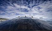 Italy, Baia (Naples), Baia 100 luxury yacht under construction (boatyard: Cantieri di Baia), bow window — Stock Photo
