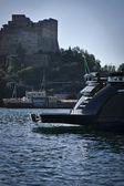 Italien (neapel), baia baia 100 luxus-yacht (werft: cantieri di baia), heck — Stockfoto