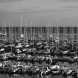Italy, Siciliy, Mediterranean sea, Marina di Ragusa, panoramic view of luxury yachts in the marina — Foto Stock