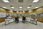 Italy, Maddaloni (Naples), cement factory, controls room — Stock Photo