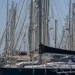 Italy, Sicily, Mediterranean sea, Marina di Ragusa, sailing boat masts in the marina — Stockfoto