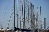 Italy, Sicily, Mediterranean sea, Marina di Ragusa, sailboat masts in the marina — Stock Photo