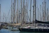 Italy, Sicily, Mediterranean sea, Marina di Ragusa, view of luxury yachts in the marina — Stock Photo