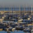 Italy, Sicily, Mediterranean sea, Marina di Ragusa, view of luxury yachts in the marina at sunset — Stock Photo