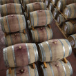 Wooden wine barrels in a wine cellar — Stock Photo