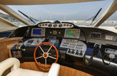 Italy, Alfamarine 78 luxury yacht, dinette, driving consolle — Stock Photo