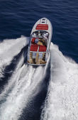 Luxury yacht, aerial view — Stock Photo