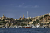 View of Ghajnsielem town and the Gozo Marin — Stock Photo