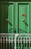 Malta, Gozo Island, Victoria city, green door in a private house — Stock Photo