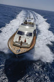 Italy, Tyrrhenian sea, off the coast of Viareggio, 82' luxury yacht, aerial view — Stock Photo