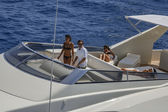 Italy, Tyrrhenian sea, off the coast of Viareggio, 82' luxury yacht, flybridge, aerial view — Stock Photo