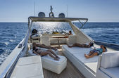 Italy, Tyrrhenian sea, off the coast of Viareggio, 82' luxury yacht, flybridge — Stock Photo