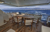 Italy, Tyrrhenian sea, off the coast of Viareggio, 82' luxury yacht, stern sundeck — Stock Photo