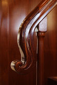 Italy, Viareggio, luxury yacht, dinette, wooden stairs handrail — Stock Photo