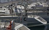 Italy, Viareggio, sailing boats in the marina — Stock Photo