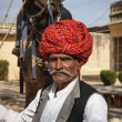 Stock Photo: India, Rajasthan, Jaipur, indimin traditional cloths holds is camel