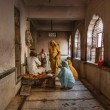 India, Rajasthan, Jaipur, Galtaji Temple, indian praying — Photo
