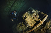 SUDAN, Red Sea, U.W. photo, Umbria wreck, an old car in the hold of the sunken ship — Stock Photo