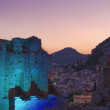 Panoramic view of the town from the greek Anphitheatre at sunset — Stock Photo