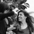 Italy, Sicily, young woman combed by an hairdresser — Stock Photo