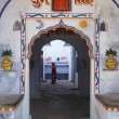 Stock Photo: India, Rajasthan, Pushkar, private house entrance, indiwoman
