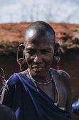 Kenya, Tsavo East National Park, Masai old woman — Stock Photo