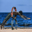 Kenya, Malindi, black man playing on the beach — ストック写真