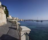 Italy, Sicily, Siracusa, Ortigia, waterfront and Jonian Sea — Stock Photo