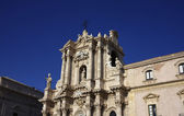 Italy, Sicily, Siracusa, Ortigia, view of the city's Baroque Cathedral facade — Stock Photo