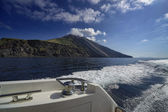 View of the volcano from the a luxury yacht — Stock Photo