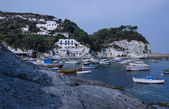 View of local fishing boats and the rocky coast of the island — Stock Photo