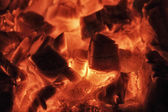 Burning wood in a fireplace — Stok fotoğraf