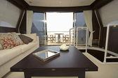 Luxus-yacht, essecke — Stockfoto