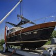 Stock Photo: Luxury yacht ashore in boatyard
