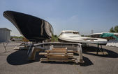 Luxury yacht under construction in a boatyard — Foto Stock
