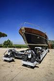 Luxury yacht ashore in a boatyard — Stock Photo