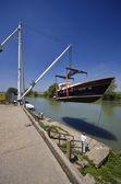 Luxury yachts ashore in a boatyard — Stock Photo