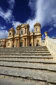 S. Nicolo Cathedral baroque facade — Stock Photo