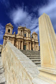 Italy, Sicily, Noto, S. Nicolo Cathedral baroque facade — Stock Photo