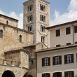 Italy, Anagni, medieval St. Mary Cathedral facade and bell tower — Stock Photo #46032615