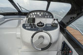 Luxury yacht, cockpit, driving consolle — Stock Photo