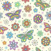 Flowers and butterflies — Stock Vector