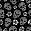 Abstract floral skulls — Vector de stock