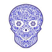 Cráneo floral abstracto — Vector de stock